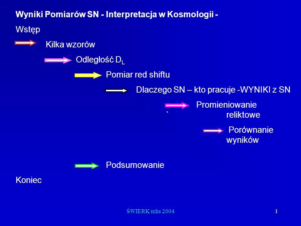 ŚWIERK mhs 20041 Wyniki Pomiarów SN - Interpretacja w Kosmologii - Wstęp Kilka wzorów Odległość D L Pomiar red shiftu Dlaczego SN – kto pracuje -WYNIK