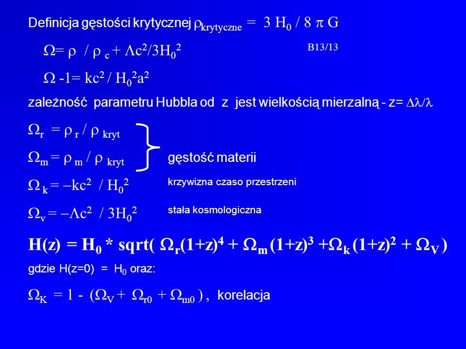 Definicja gęstości krytycznej krytyczne = 3 H 0 / 8 G = / c + c 2 /3H 0 2B13/13 -1= kc 2 / H 0 2 a 2 zależność parametru Hubbla od z jest wielkością m