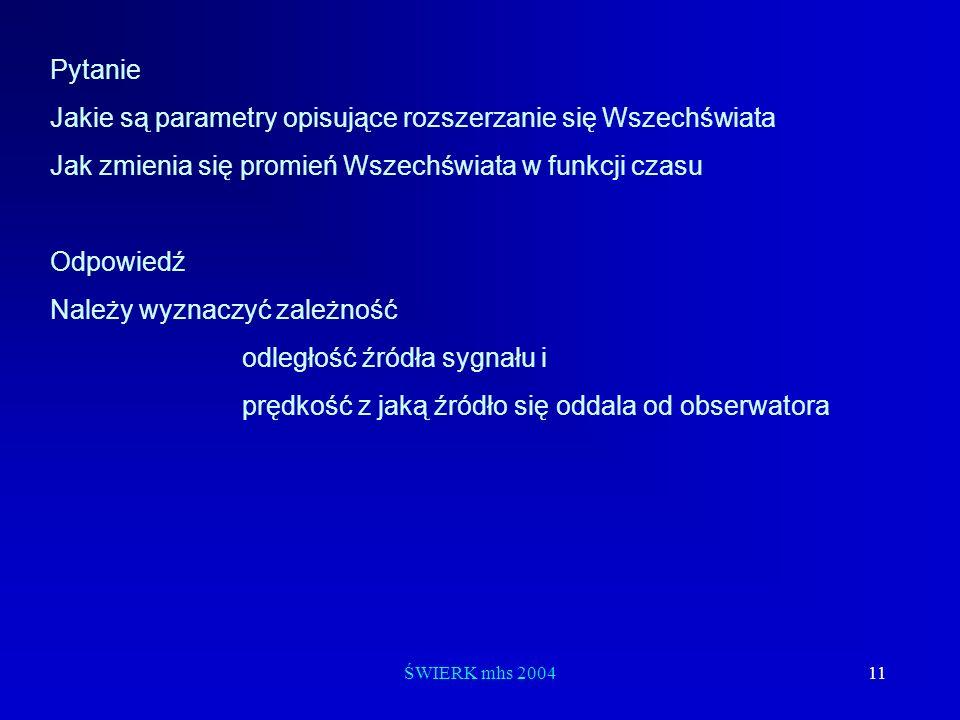 ŚWIERK mhs 200411 Pytanie Jakie są parametry opisujące rozszerzanie się Wszechświata Jak zmienia się promień Wszechświata w funkcji czasu Odpowiedź Na