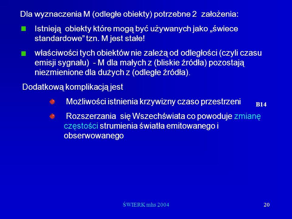 ŚWIERK mhs 200420 Dla wyznaczenia M (odległe obiekty) potrzebne 2 założenia: Istnieją obiekty które mogą być używanych jako świece standardowe tzn. M