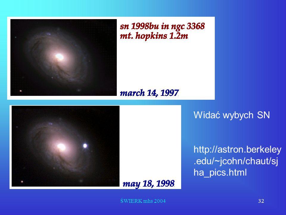ŚWIERK mhs 200432 Widać wybych SN http://astron.berkeley.edu/~jcohn/chaut/sj ha_pics.html
