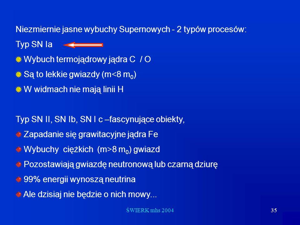 ŚWIERK mhs 200435 Niezmiernie jasne wybuchy Supernowych - 2 typów procesów: Typ SN Ia Wybuch termojądrowy jądra C / O Są to lekkie gwiazdy (m<8 m 0 )