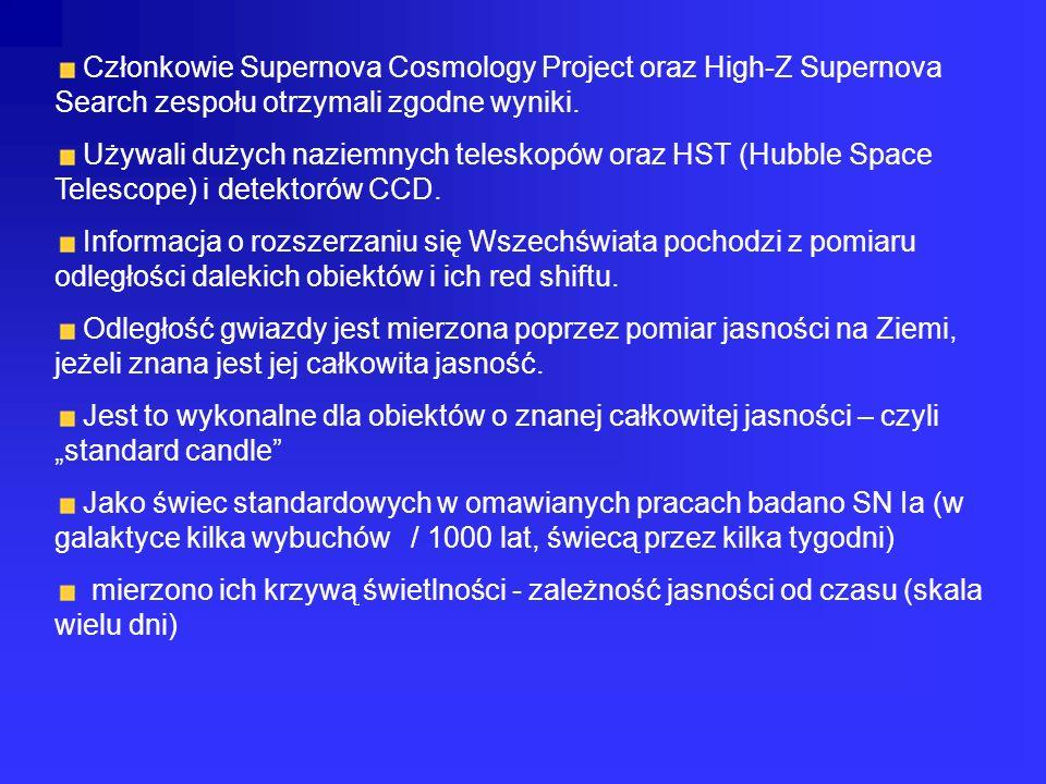 Członkowie Supernova Cosmology Project oraz High-Z Supernova Search zespołu otrzymali zgodne wyniki. Używali dużych naziemnych teleskopów oraz HST (Hu