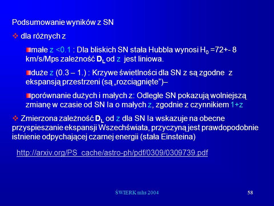 ŚWIERK mhs 200458 Podsumowanie wyników z SN dla różnych z małe z <0.1 : Dla bliskich SN stała Hubbla wynosi H 0 =72+- 8 km/s/Mps zależność D L od z je