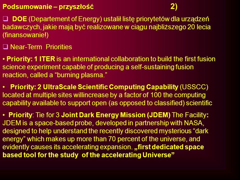 Podsumowanie – przyszłość 2) DOE (Departement of Energy) ustalił listę priorytetów dla urządzeń badawczych, jakie mają być realizowane w ciągu najbliż