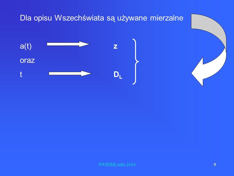 ŚWIERK mhs 20049 Dla opisu Wszechświata są używane mierzalne a(t) z oraz tD L
