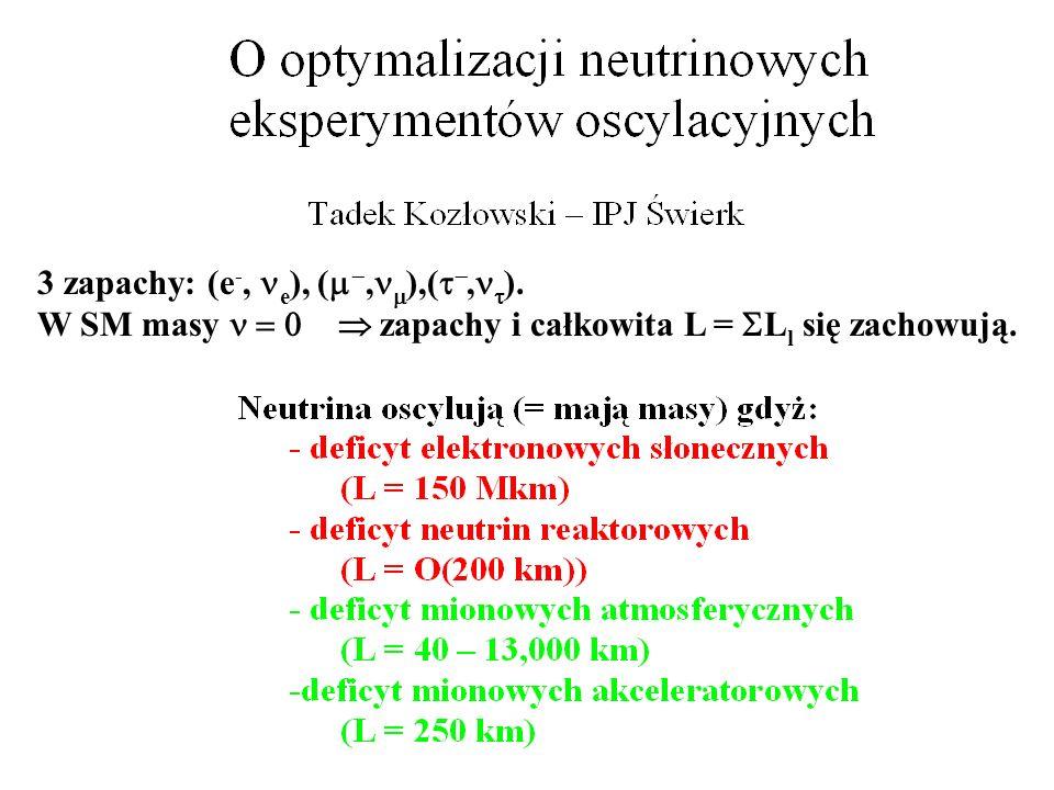 3 zapachy: (e -, e ), (, ),(, ). W SM masy zapachy i całkowita L = L l się zachowują.