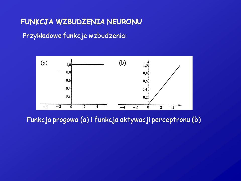 FUNKCJA WZBUDZENIA NEURONU Przykładowe funkcje wzbudzenia: Funkcja progowa (a) i funkcja aktywacji perceptronu (b) (a)(b)