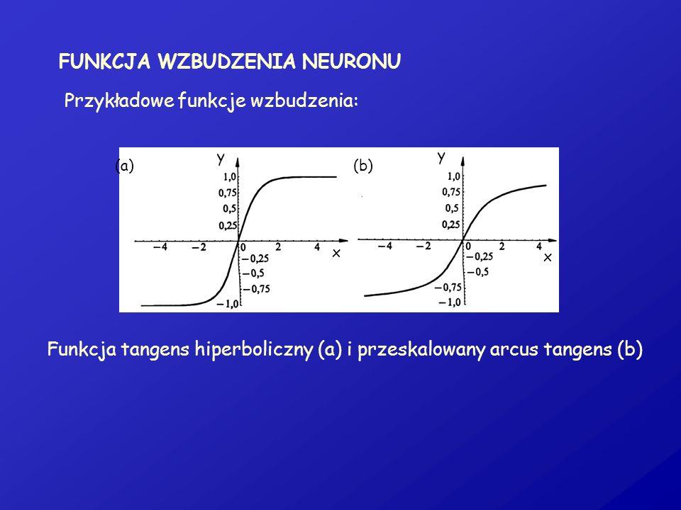 FUNKCJA WZBUDZENIA NEURONU Przykładowe funkcje wzbudzenia: Funkcja tangens hiperboliczny (a) i przeskalowany arcus tangens (b) (a)(b) x x y y