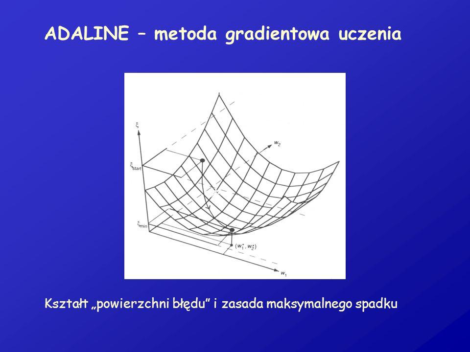 ADALINE – metoda gradientowa uczenia Kształt powierzchni błędu i zasada maksymalnego spadku