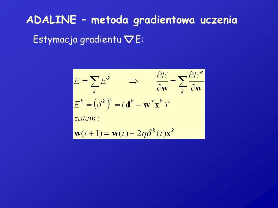 ADALINE – metoda gradientowa uczenia Estymacja gradientu E:
