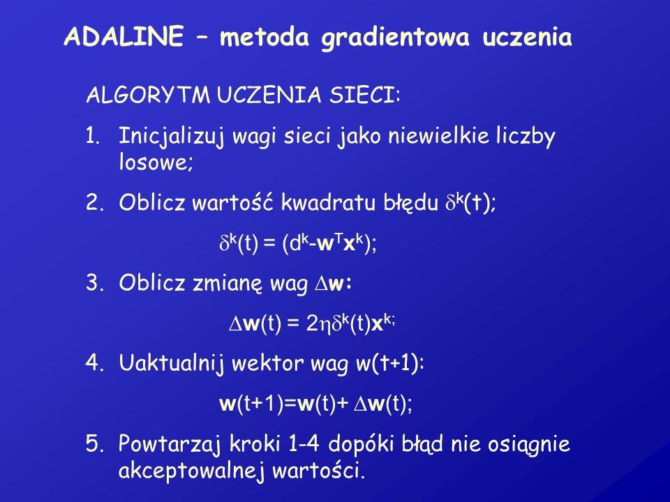 ADALINE – metoda gradientowa uczenia ALGORYTM UCZENIA SIECI: 1.Inicjalizuj wagi sieci jako niewielkie liczby losowe; 2.Oblicz wartość kwadratu błędu k