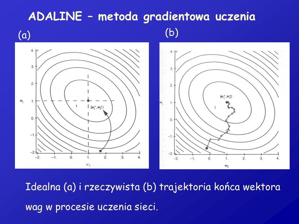 ADALINE – metoda gradientowa uczenia (a) (b) Idealna (a) i rzeczywista (b) trajektoria końca wektora wag w procesie uczenia sieci.