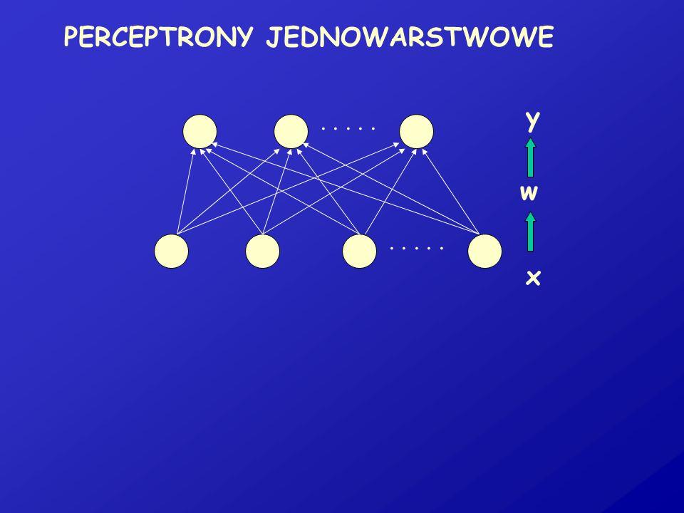 PERCEPTRONY JEDNOWARSTWOWE..... x w y