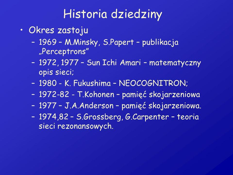 Historia dziedziny Okres zastoju –1969 – M.Minsky, S.Papert – publikacja Perceptrons –1972, 1977 – Sun Ichi Amari – matematyczny opis sieci; –1980 - K
