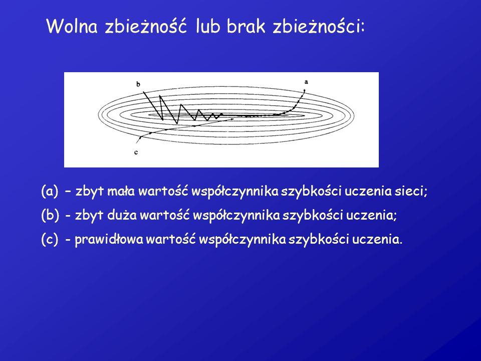 Wolna zbieżność lub brak zbieżności: (a)– zbyt mała wartość współczynnika szybkości uczenia sieci; (b)- zbyt duża wartość współczynnika szybkości ucze