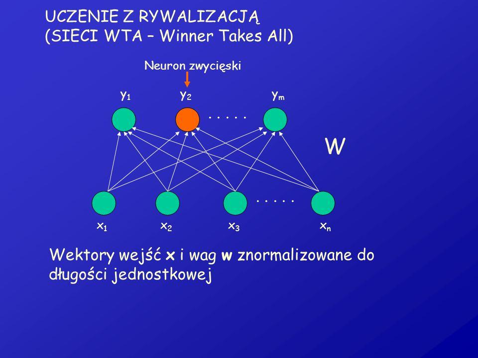 UCZENIE Z RYWALIZACJĄ (SIECI WTA – Winner Takes All)..... x1x1 x2x2 x3x3 xnxn y1y1 y2y2 ymym W Neuron zwycięski Wektory wejść x i wag w znormalizowane