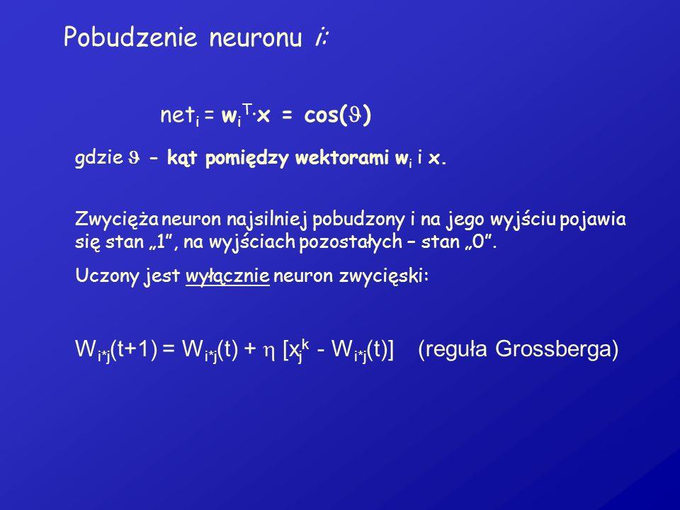 Pobudzenie neuronu i: net i = w i T ·x = cos( ) gdzie - kąt pomiędzy wektorami w i i x. Zwycięża neuron najsilniej pobudzony i na jego wyjściu pojawia