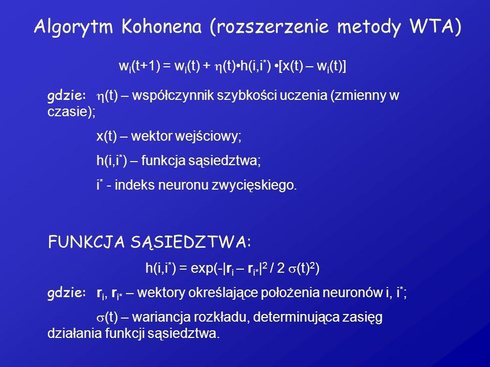 Algorytm Kohonena (rozszerzenie metody WTA) w i (t+1) = w i (t) + (t)h(i,i * ) [x(t) – w i (t)] gdzie: (t) – współczynnik szybkości uczenia (zmienny w
