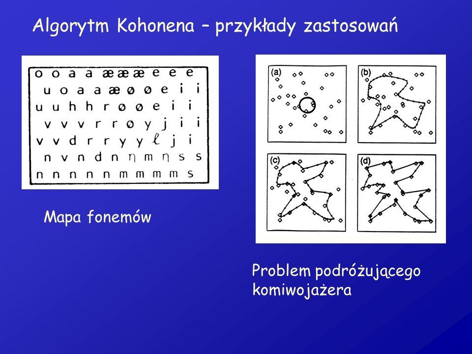 Algorytm Kohonena – przykłady zastosowań Mapa fonemów Problem podróżującego komiwojażera