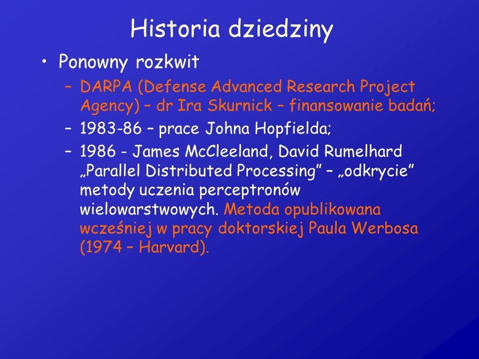 Historia dziedziny Ponowny rozkwit –DARPA (Defense Advanced Research Project Agency) – dr Ira Skurnick – finansowanie badań; –1983-86 – prace Johna Ho