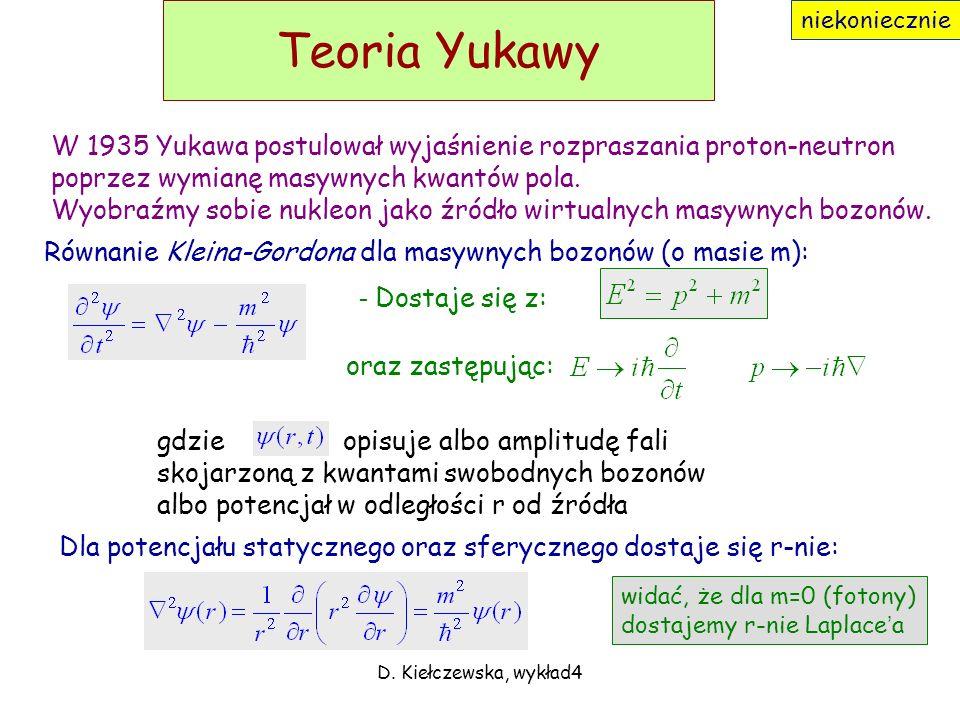 D. Kiełczewska, wykład4 Zasięg oddziaływania W układzie spocz. cząstki A (początkowej): Energia niezachowana o: Czyli dla każdego p: ale z zasady nieo