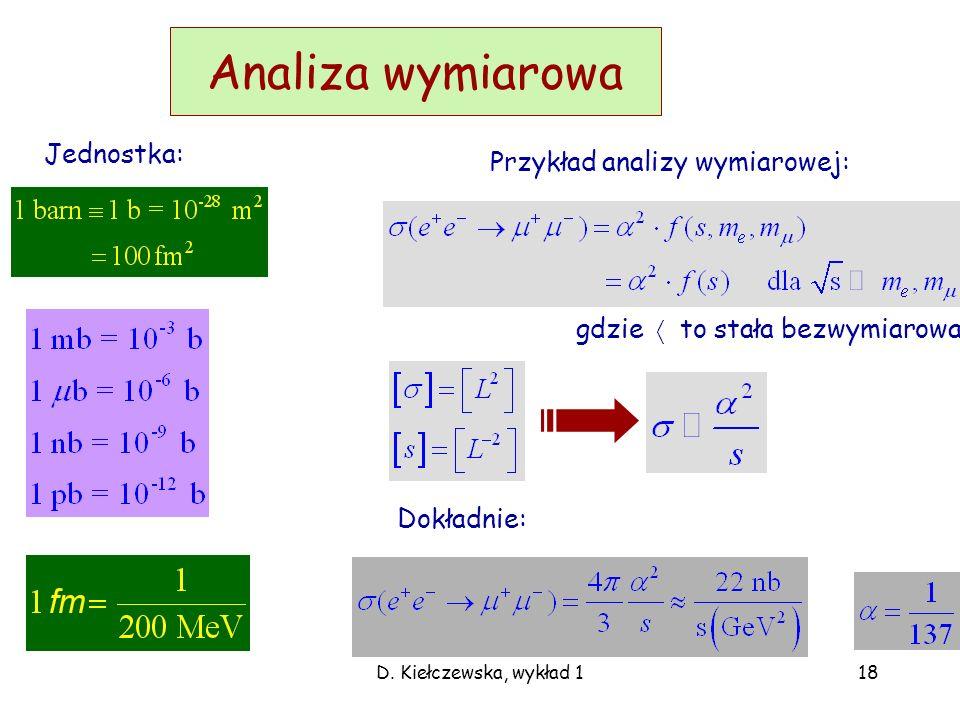 D. Kiełczewska, wykład4 Diagramy Feynmana a przekroje czynne Jeśli energia w środku masy: Zgadujemy całkowity przekrój czynny (analiza wymiarowa): a d