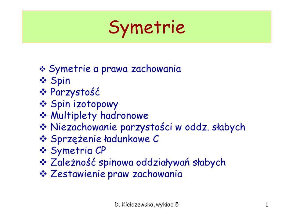 D. Kiełczewska, wykład 51 Symetrie Symetrie a prawa zachowania Spin Parzystość Spin izotopowy Multiplety hadronowe Niezachowanie parzystości w oddz. s