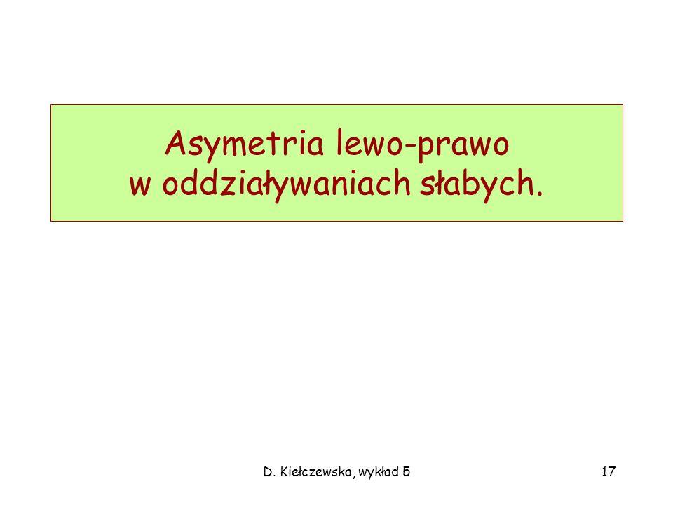 D. Kiełczewska, wykład 517 Asymetria lewo-prawo w oddziaływaniach słabych.