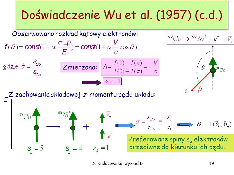 D. Kiełczewska, wykład 519 Doświadczenie Wu et al. (1957) (c.d.) Z zachowania składowej z momentu pędu układu: Obserwowano rozkład kątowy elektronów: