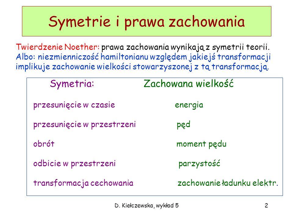 D. Kiełczewska, wykład 52 Symetrie i prawa zachowania Twierdzenie Noether: prawa zachowania wynikają z symetrii teorii. Albo: niezmienniczość hamilton