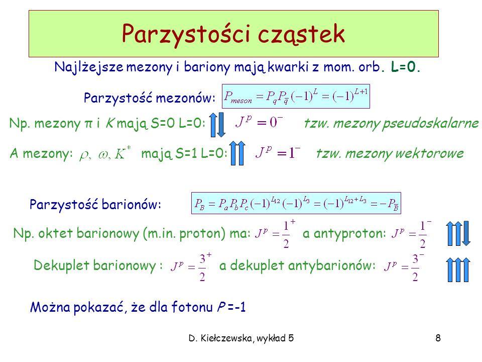 D. Kiełczewska, wykład 58 Parzystości cząstek Parzystość mezonów: Można pokazać, że dla fotonu P =-1 Parzystość barionów: Np. mezony π i K mają S=0 L=