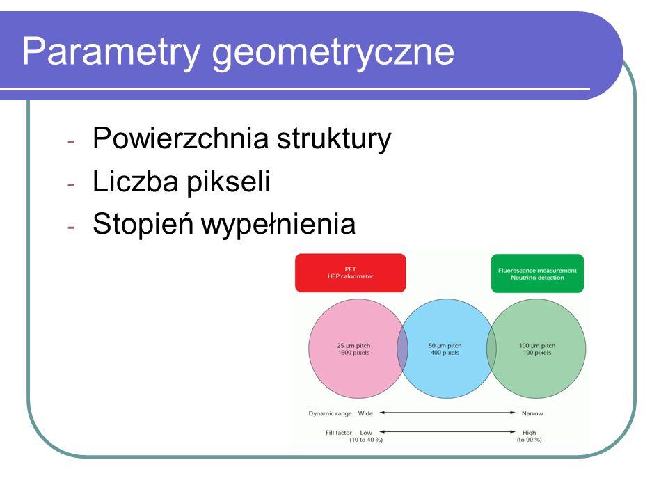 Parametry geometryczne - Powierzchnia struktury - Liczba pikseli - Stopień wypełnienia
