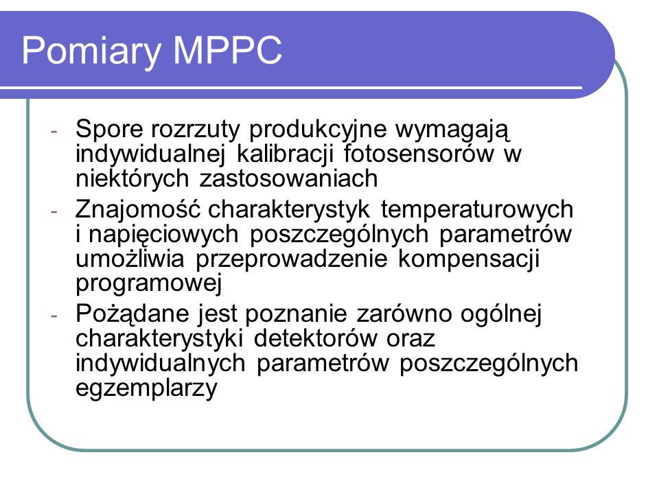 Pomiary MPPC - Spore rozrzuty produkcyjne wymagają indywidualnej kalibracji fotosensorów w niektórych zastosowaniach - Znajomość charakterystyk temper
