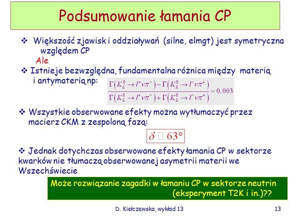 D. Kiełczewska, wykład 13 Podsumowanie łamania CP Większość zjawisk i oddziaływań (silne, elmgt) jest symetryczna względem CP Ale Istnieje bezwzględna