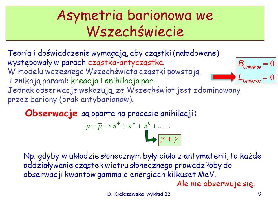 D. Kiełczewska, wykład 13 Asymetria barionowa we Wszechświecie Teoria i doświadczenie wymagają, aby cząstki (naładowane) występowały w parach cząstka-