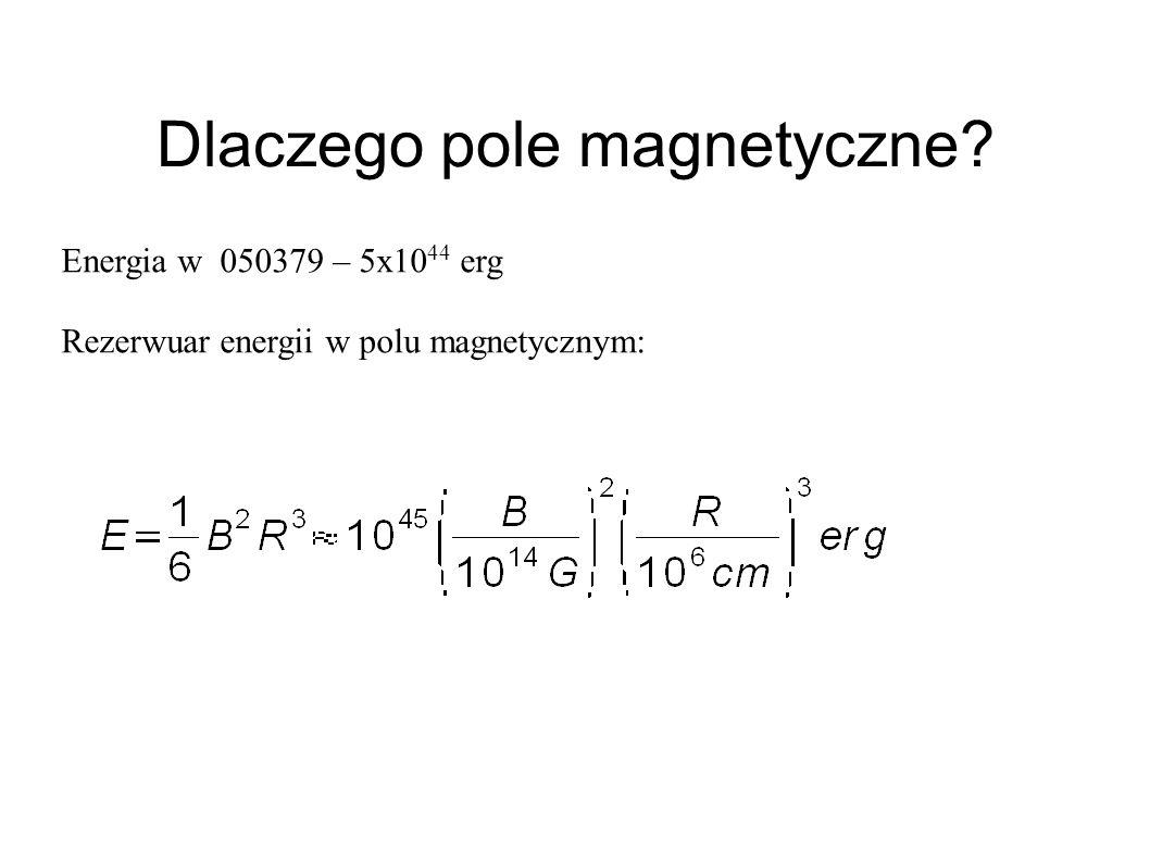 Dlaczego pole magnetyczne? Energia w 050379 – 5x10 44 erg Rezerwuar energii w polu magnetycznym: