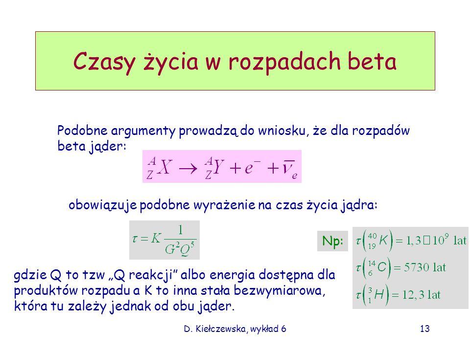 D. Kiełczewska, wykład 613 Czasy życia w rozpadach beta Podobne argumenty prowadzą do wniosku, że dla rozpadów beta jąder: obowiązuje podobne wyrażeni
