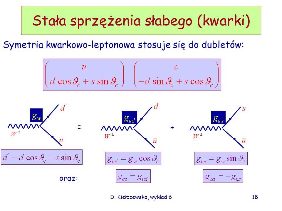 D. Kiełczewska, wykład 618 Stała sprzężenia słabego (kwarki) Symetria kwarkowo-leptonowa stosuje się do dubletów: =+ oraz:
