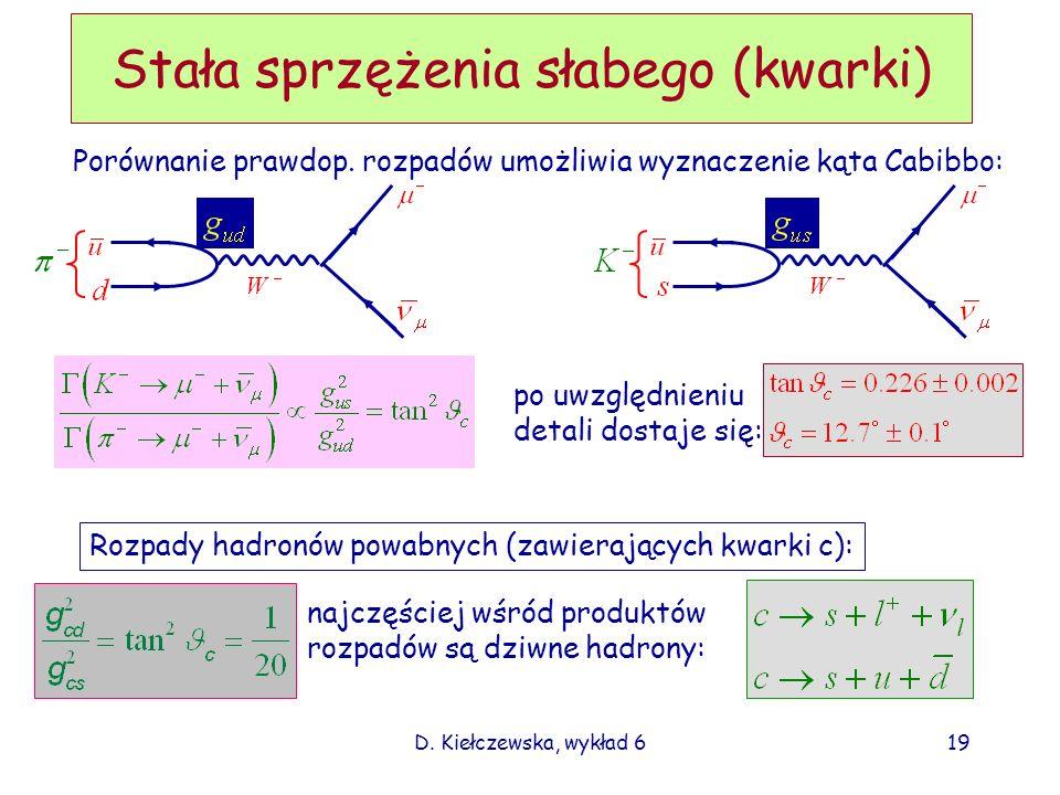 D. Kiełczewska, wykład 619 Stała sprzężenia słabego (kwarki) Porównanie prawdop. rozpadów umożliwia wyznaczenie kąta Cabibbo: po uwzględnieniu detali