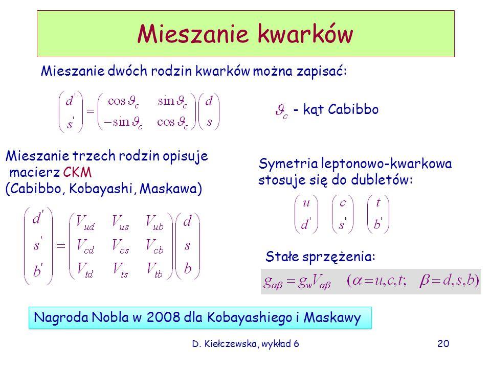 D. Kiełczewska, wykład 620 Mieszanie kwarków Mieszanie dwóch rodzin kwarków można zapisać: - kąt Cabibbo Mieszanie trzech rodzin opisuje macierz CKM (