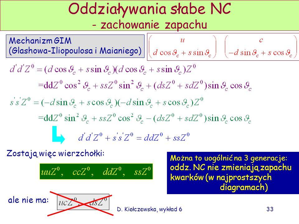 D. Kiełczewska, wykład 633 Oddziaływania słabe NC - zachowanie zapachu Zostają więc wierzchołki: ale nie ma: Można to uogólnić na 3 generacje: oddz. N