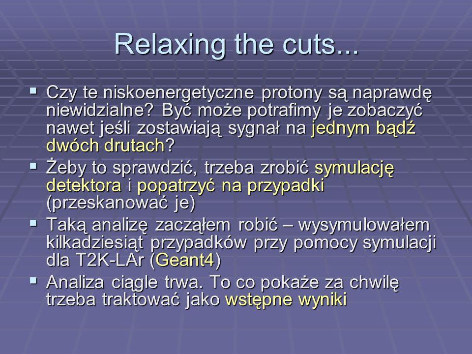 Relaxing the cuts... Czy te niskoenergetyczne protony są naprawdę niewidzialne.