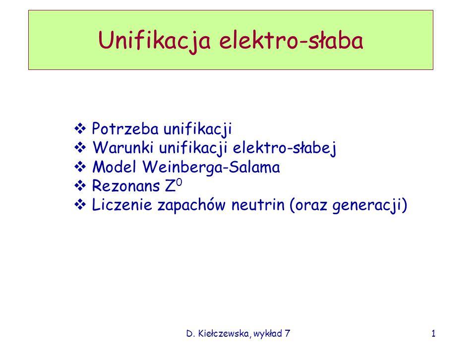D. Kiełczewska, wykład 71 Unifikacja elektro-słaba Potrzeba unifikacji Warunki unifikacji elektro-słabej Model Weinberga-Salama Rezonans Z 0 Liczenie