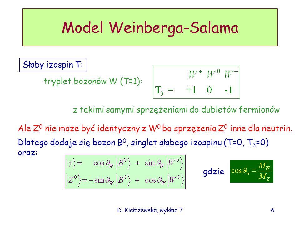 D. Kiełczewska, wykład 76 Model Weinberga-Salama Słaby izospin T: tryplet bozonów W (T=1): z takimi samymi sprzężeniami do dubletów fermionów Ale Z 0