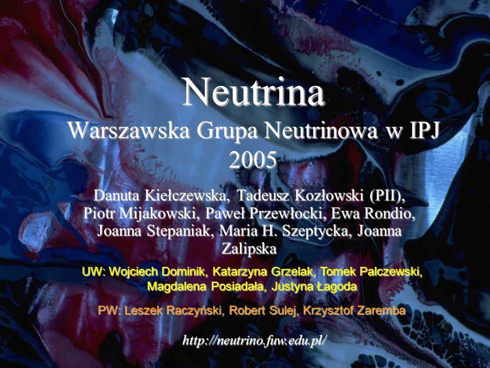 Neutrina Warszawska Grupa Neutrinowa w IPJ 2005 Danuta Kiełczewska, Tadeusz Kozłowski (PII), Piotr Mijakowski, Paweł Przewłocki, Ewa Rondio, Joanna Stepaniak, Maria H.