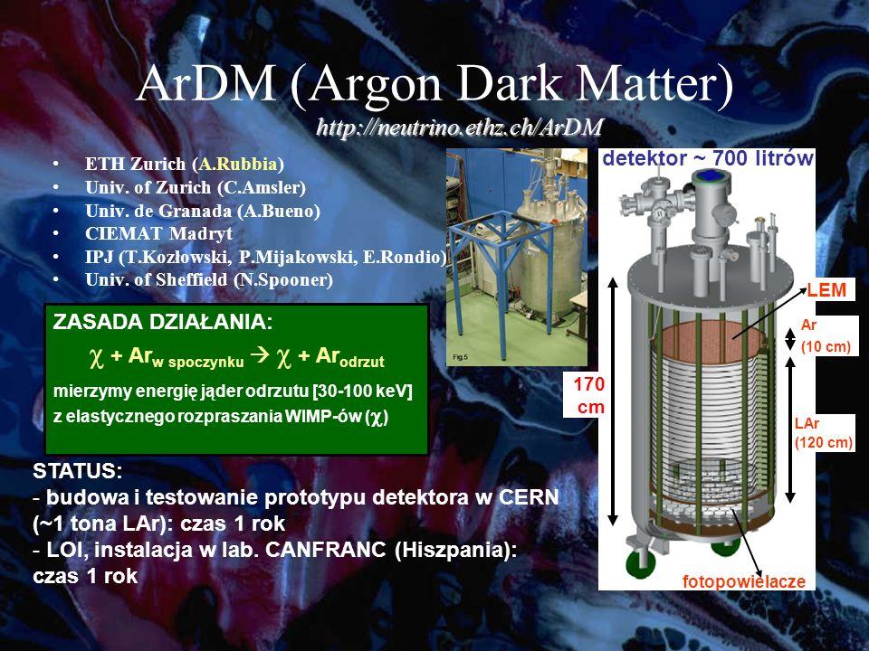 ArDM (Argon Dark Matter) ETH Zurich (A.Rubbia) Univ.
