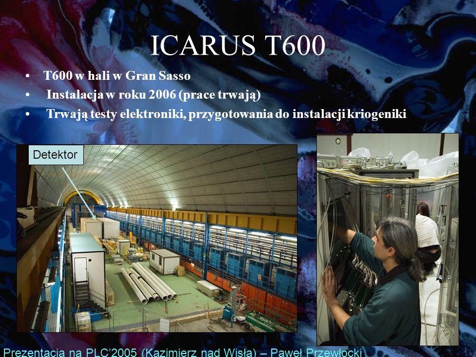 ICARUS T600 T600 w hali w Gran Sasso Instalacja w roku 2006 (prace trwają) Trwają testy elektroniki, przygotowania do instalacji kriogeniki Prezentacja na PLC2005 (Kazimierz nad Wisłą) – Paweł Przewłocki Detektor