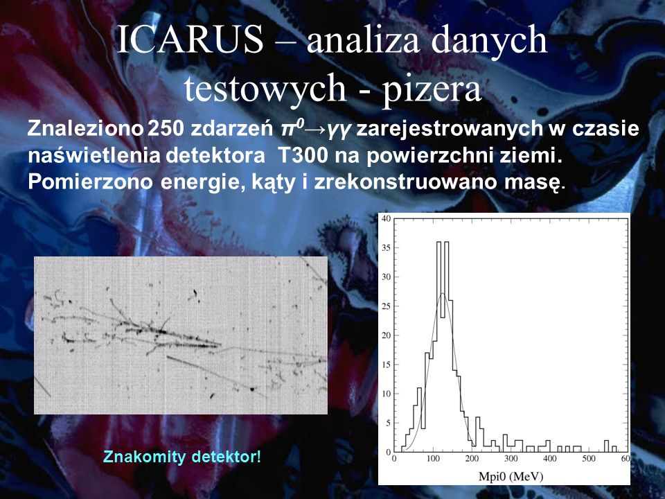 Znaleziono 250 zdarzeń π 0 γγ zarejestrowanych w czasie naświetlenia detektora T300 na powierzchni ziemi.