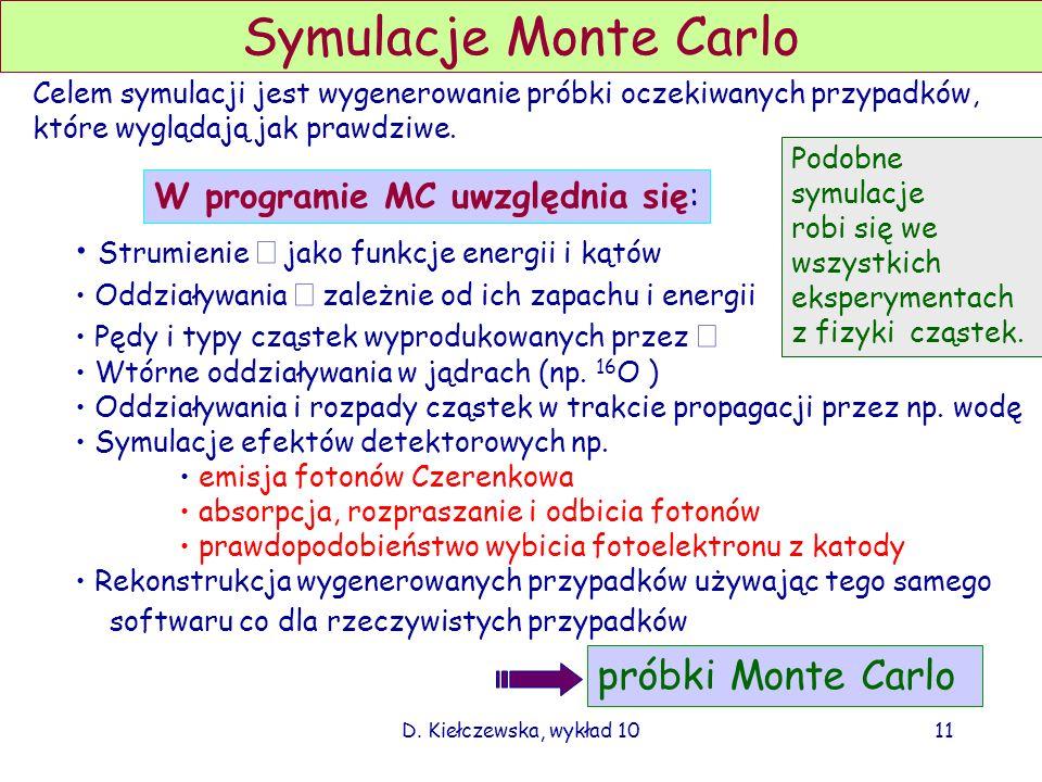 D. Kiełczewska, wykład 10 Widma energii neutrin Fully contained FC Partially contained PC Upμ stop Upμ thru 10